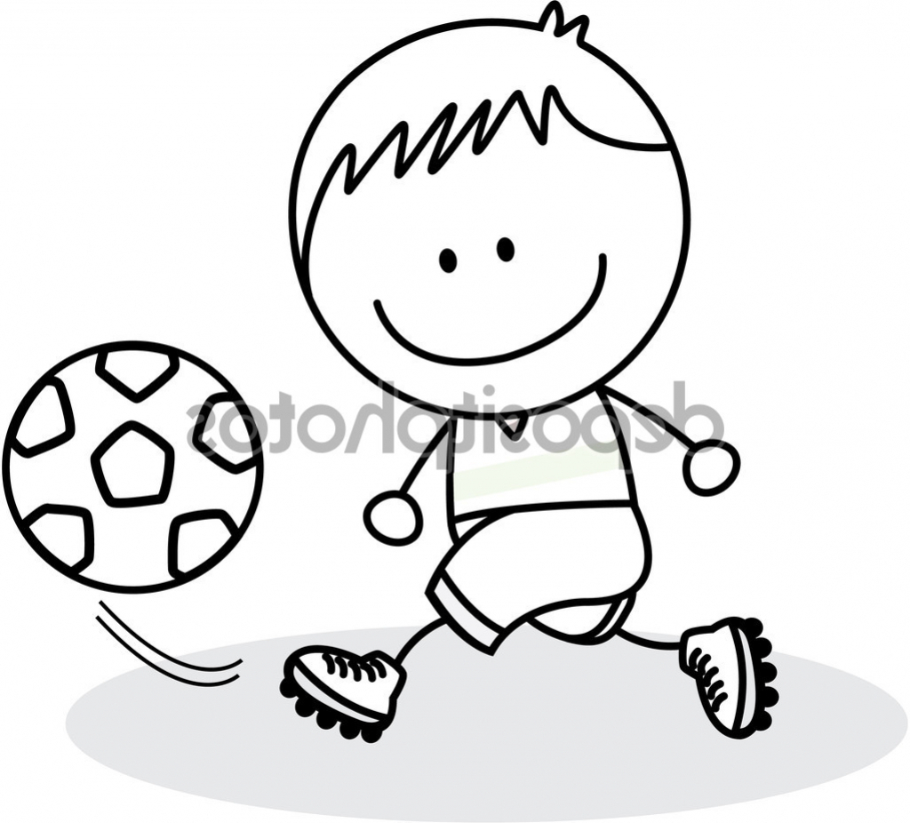 1024x926 Boy Playing Football Sketch A Drawn Picture Of A Boy Playing