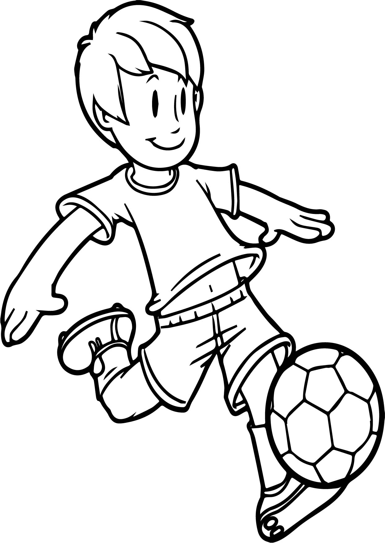 1243x1754 Cartoon Boy Playing Soccer Kid Ball On Easy Coloring Page