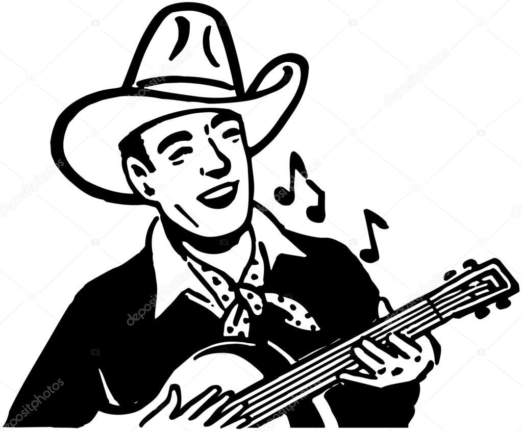 1023x845 Cowboy Playing Guitar Stock Vector Retroclipart