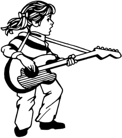 423x480 Girl Plays Guitar And Sings Coloring Page Free Printable
