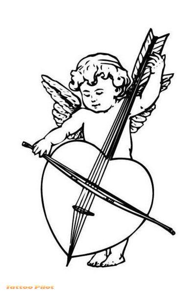 398x600 Baby Angel Playing Guitar Tattoo Design