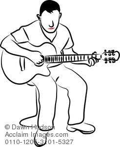 246x300 Illustration Of Simple Line Drawing Of A Young Man Playing A Sad