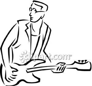 300x279 Man Playing An Electric Guitar Royalty Free Clipart Picture
