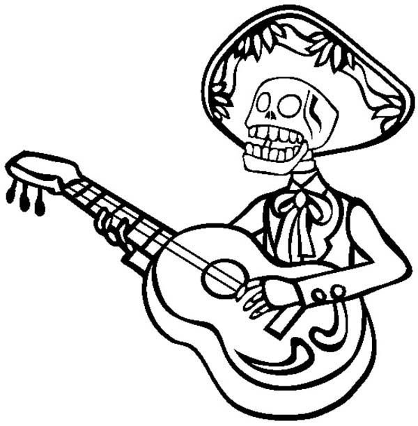 600x612 Mariachi Skeleton Playing Guitar Coloring Page