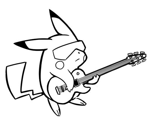 529x419 Pikachu Playing Guitar Free Coloring Page Kids, Pokemon Coloring