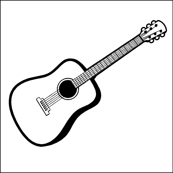 600x600 Playing Guitar Clipart Black And White