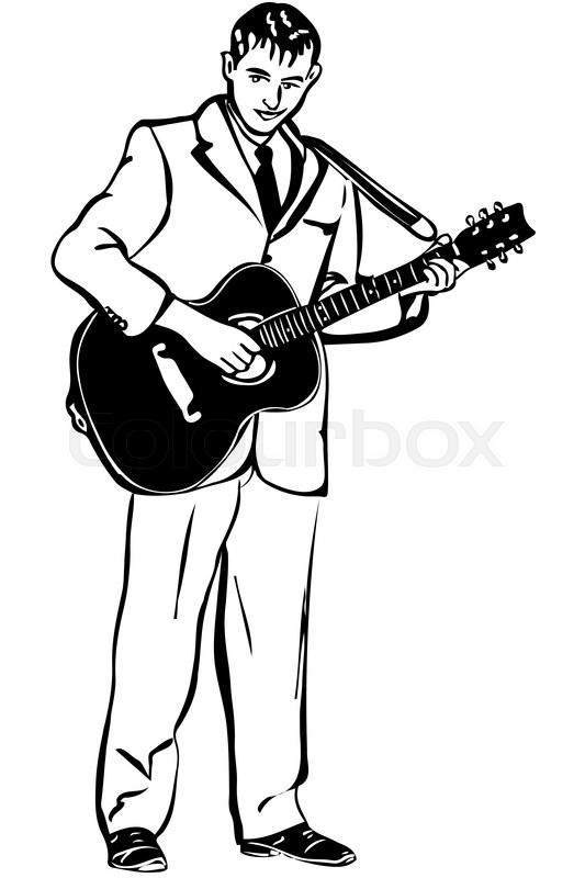533x800 Black And White Vector Sketch Of A Man Playing An Acoustic Guitar