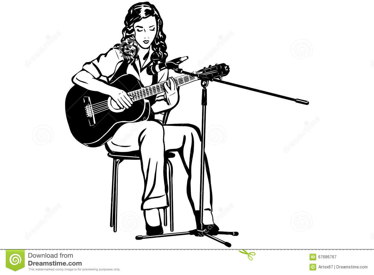 1300x957 Sketch Images Of Girl Playing Guitar Vector Sketch Of A Girl