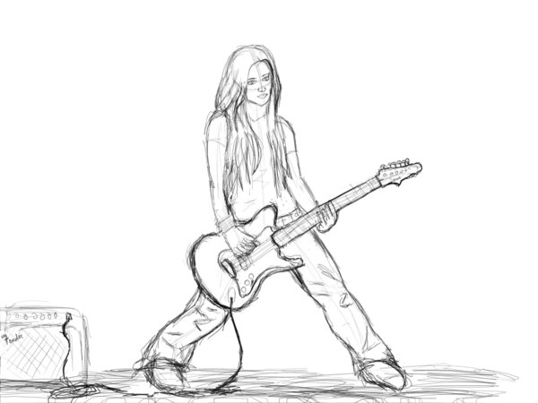 600x450 Playin' Guitar Sketch By Warning746