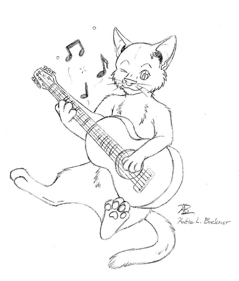 824x969 Cat Playing Guitar