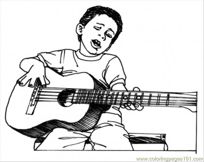 650x518 Boy Play Guitar Coloring Page