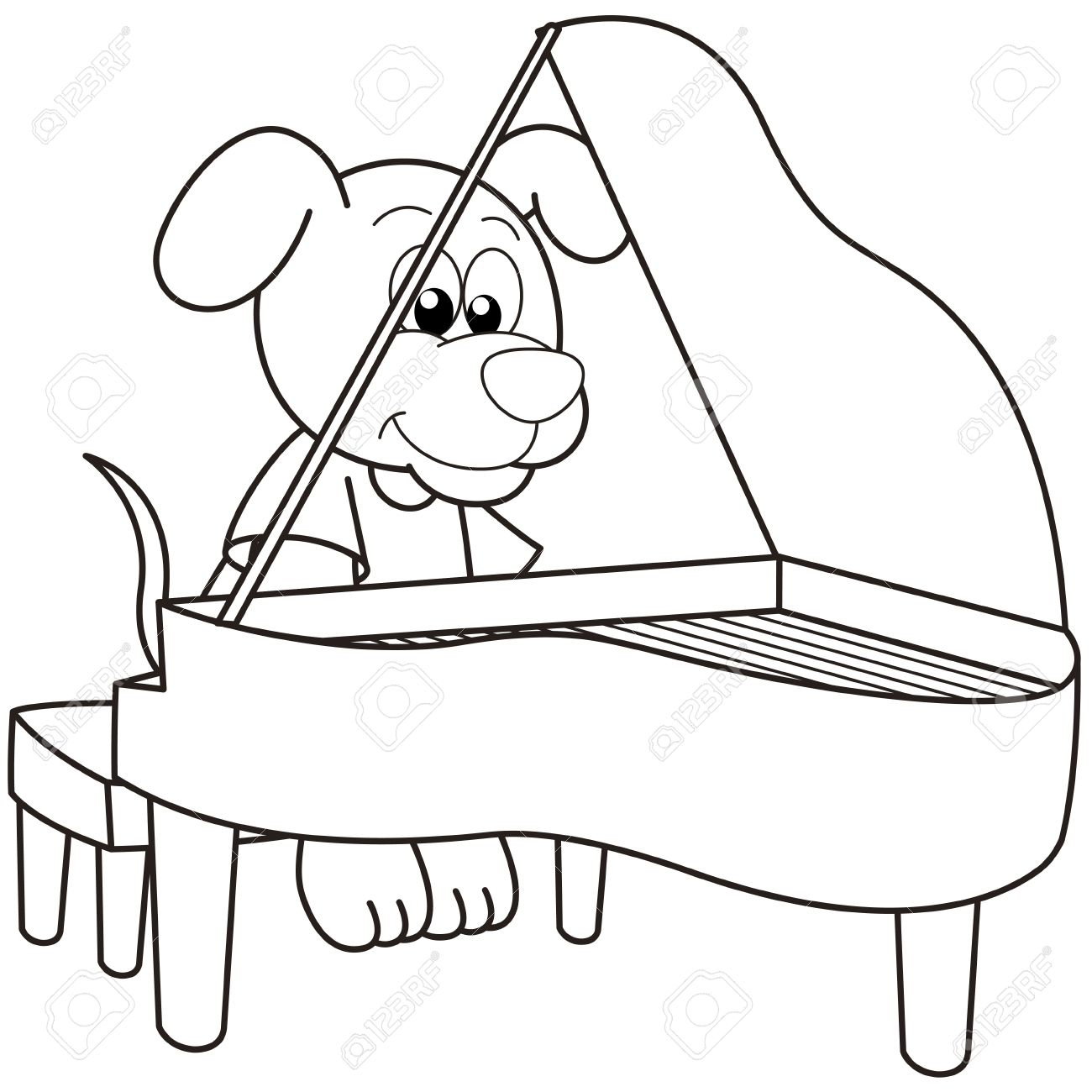 1300x1300 Cartoon Dog Playing A Piano Black And White Royalty Free Cliparts