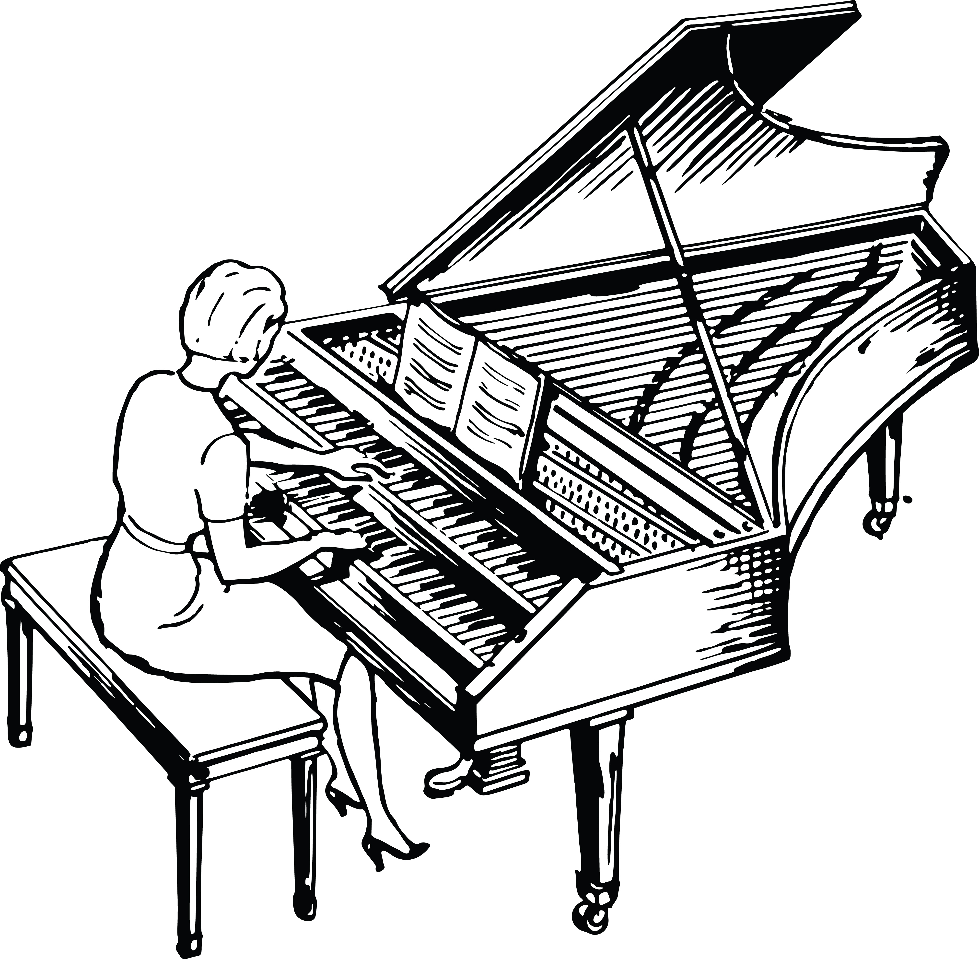 4000x3918 Clipart Of A Woman Playing A Piano