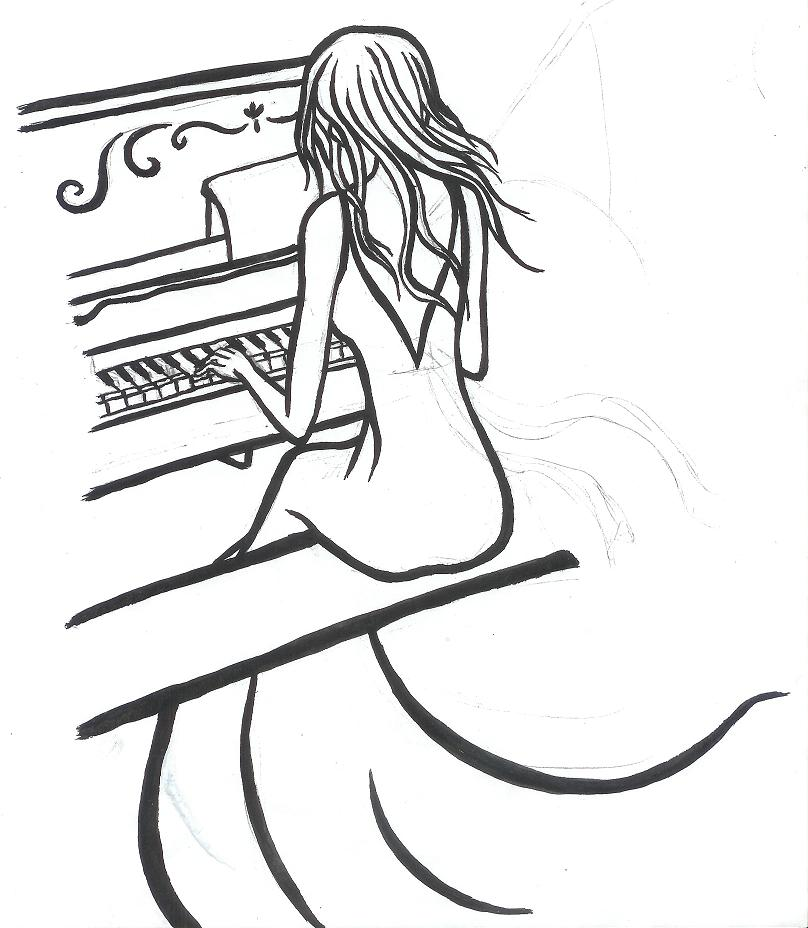 808x928 Girl Playing Piano Drawing Personally This Is Definitely Cool Http