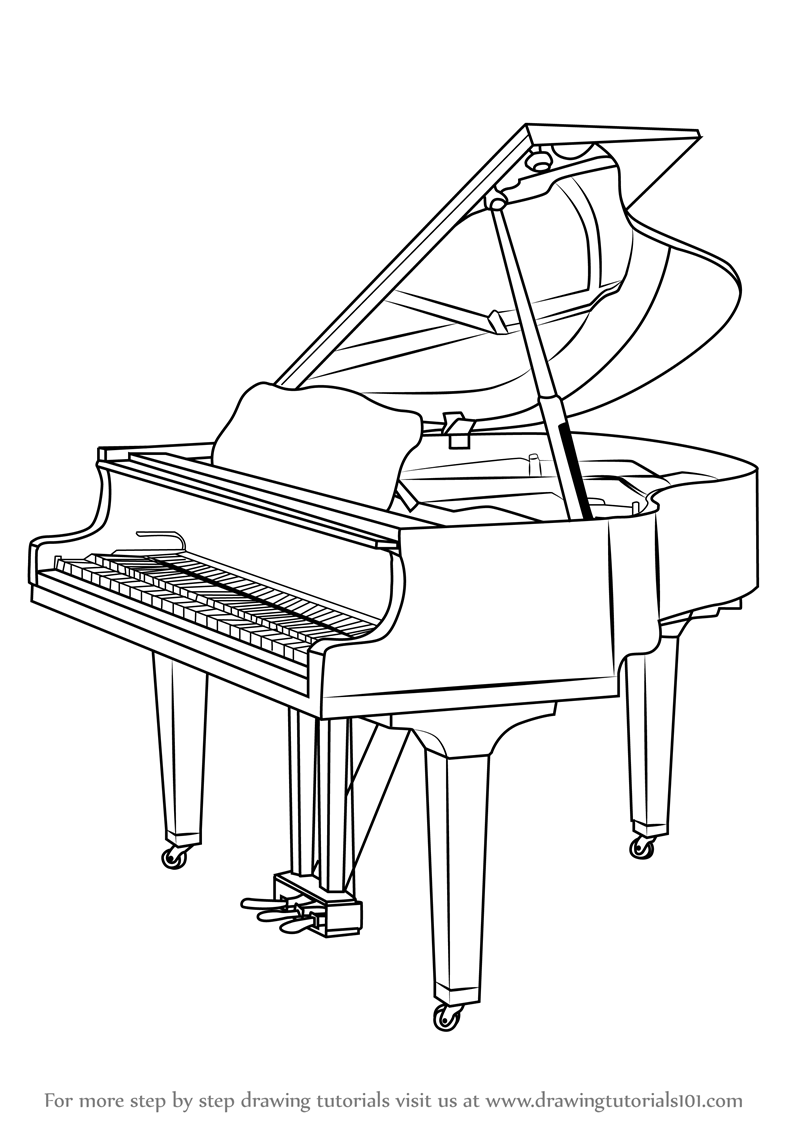 800x1131 Learn How To Draw A Grand Piano (Musical Instruments) Step By Step