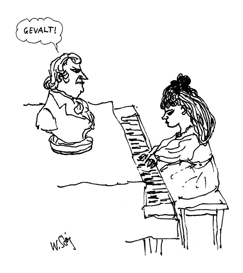 801x899 Woman Playing Piano By William Steig