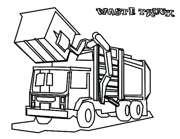 600x464 Garbage Truck Coloring Page 65 In Addition To Dump Truck Side View