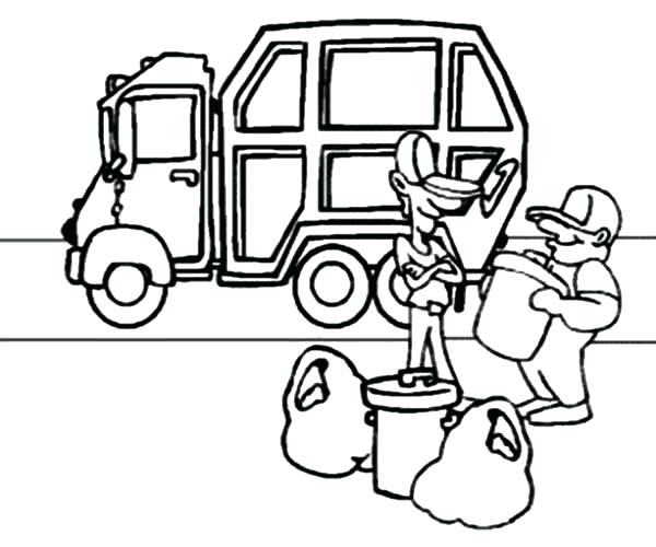600x500 Garbage Truck Coloring Page For Garbage Truck Coloring Pages