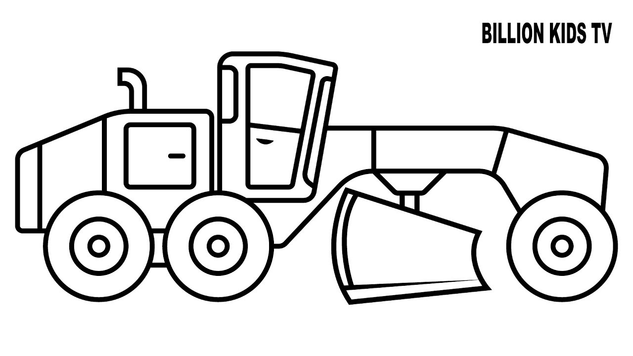 1280x720 Grader Truck Coloring Pages, Colors For Kids Vehicles Video