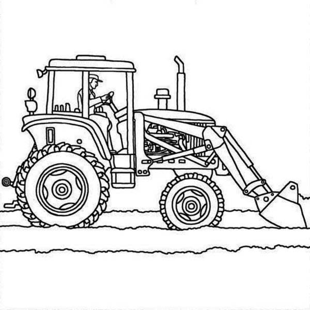 1024x1024 Tractor Plows Coloring Page Online Printable Transportation