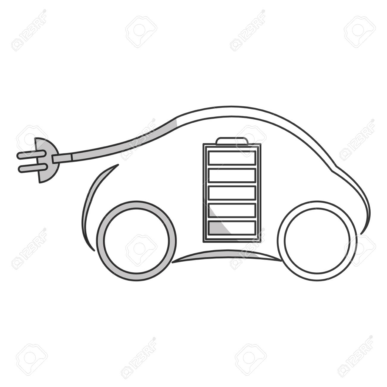 1300x1300 Car With Electric Plug And Battery Icon Over White Background