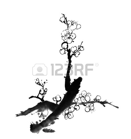 424x450 Chinese Painting Of Flowers, Plum Blossom, On White Background