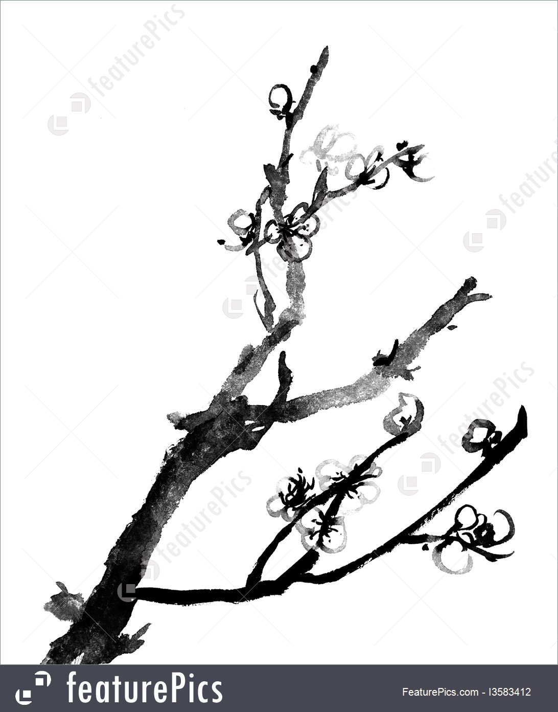 1092x1392 Plum Blossom Chinese Traditional Ink Painting Picture
