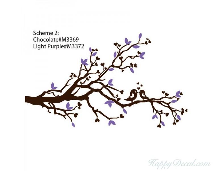 750x600 Blossom Branch Wall Decal With Loving Birds Nursery Vinyl Tree