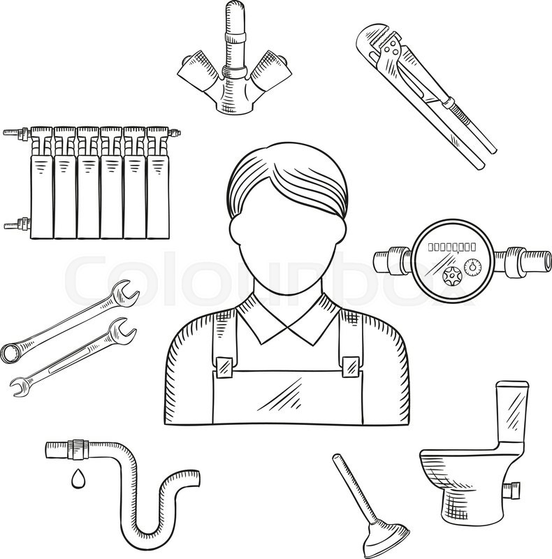 790x800 Plumbing Services Sketch Symbol Of Male Plumber In Uniform