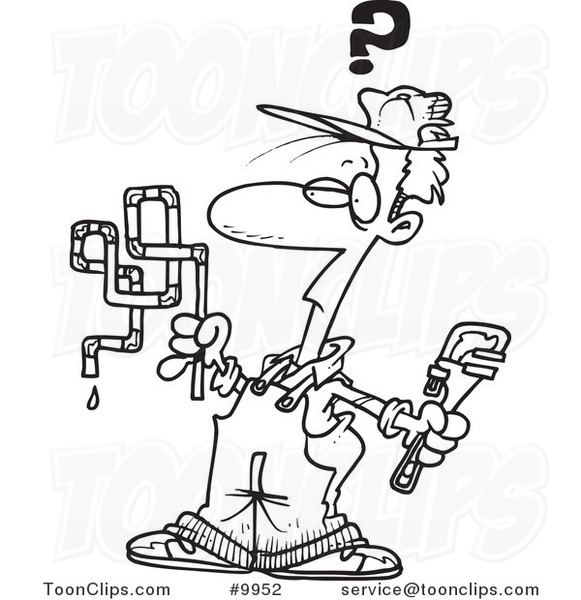 581x600 Cartoon Black And White Line Drawing Of A Confused Plumber