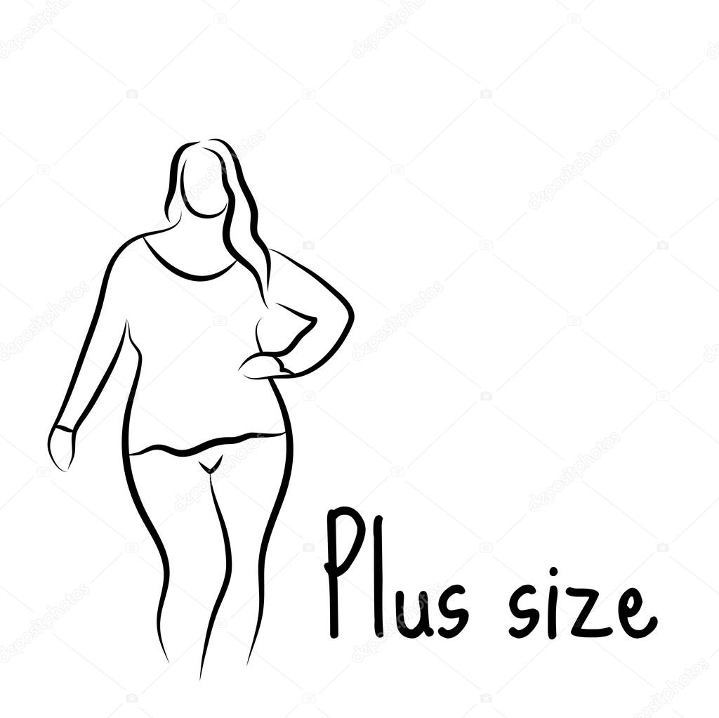 1024x1022 Plus Size Model Woman Sketch. Hand Drawing Style. Fashion Logo
