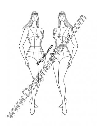 316x409 Plus Size Female Fashion Croqui Full Figure Three Quarter Pose V27