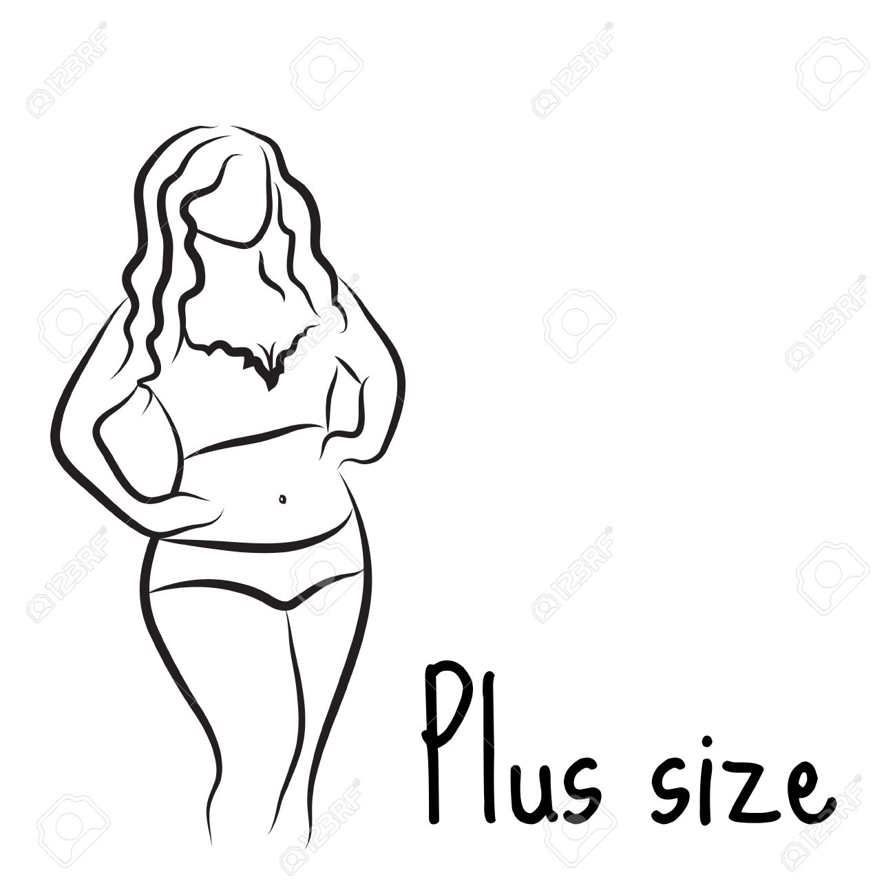 1300x1297 Plus Size Model Woman Sketch. Hand Drawing Style. Curvy Body