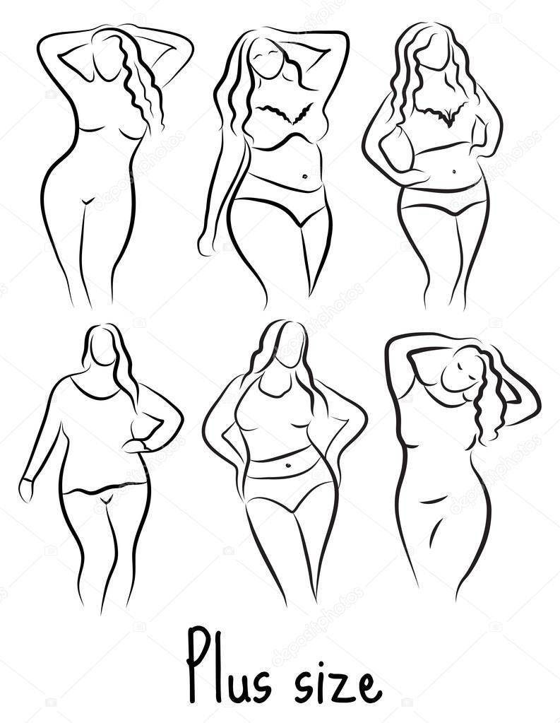 793x1023 Plus Size Model Woman Sketch. Hand Drawing Style. Fashion Logo