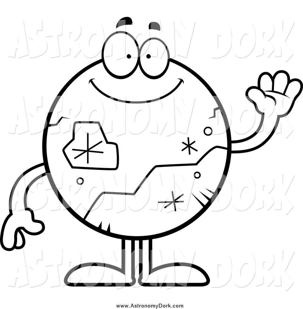 1024x1044 Clip Art Of A Black And White Planet Pluto Waving By Cory Thoman