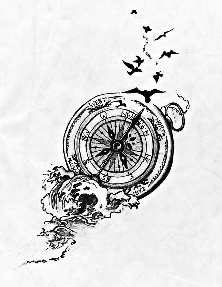 736x948 Collection Of Clock Compass Tattoo Print
