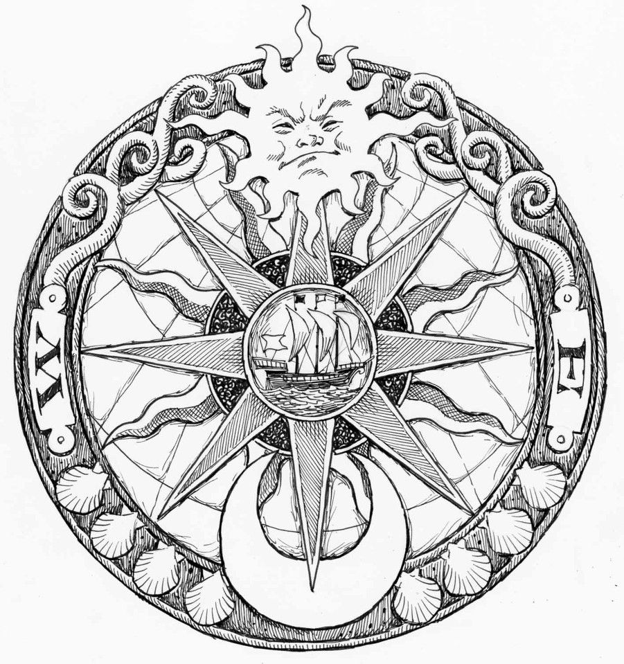 901x959 Nautical Compass Drawing