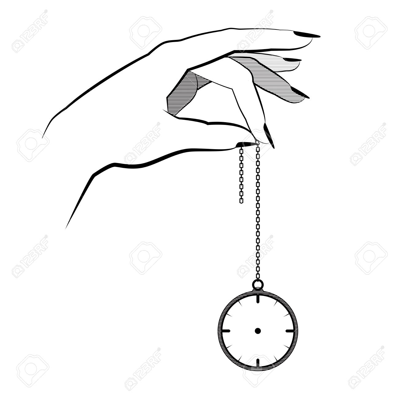 1300x1300 Hypnosis Concept. Hand Hold On A Chain Pocket Watch. Mind Control