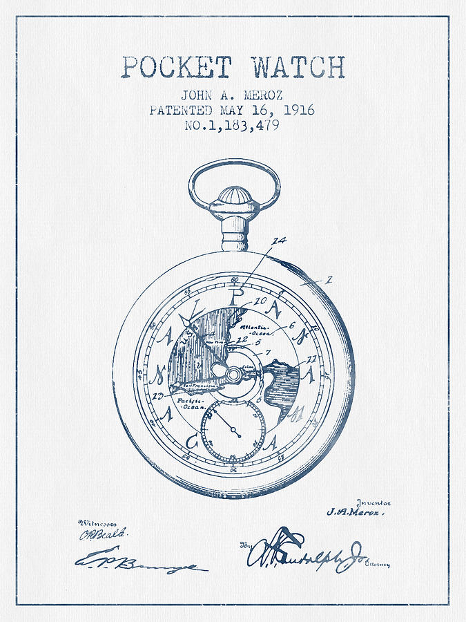 675x900 Pocket Watch Patent From 1916