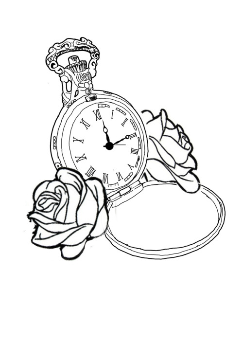 500x707 Pocket Watch Tattoo Drawing Outline Sketch Coloring Page Tatz