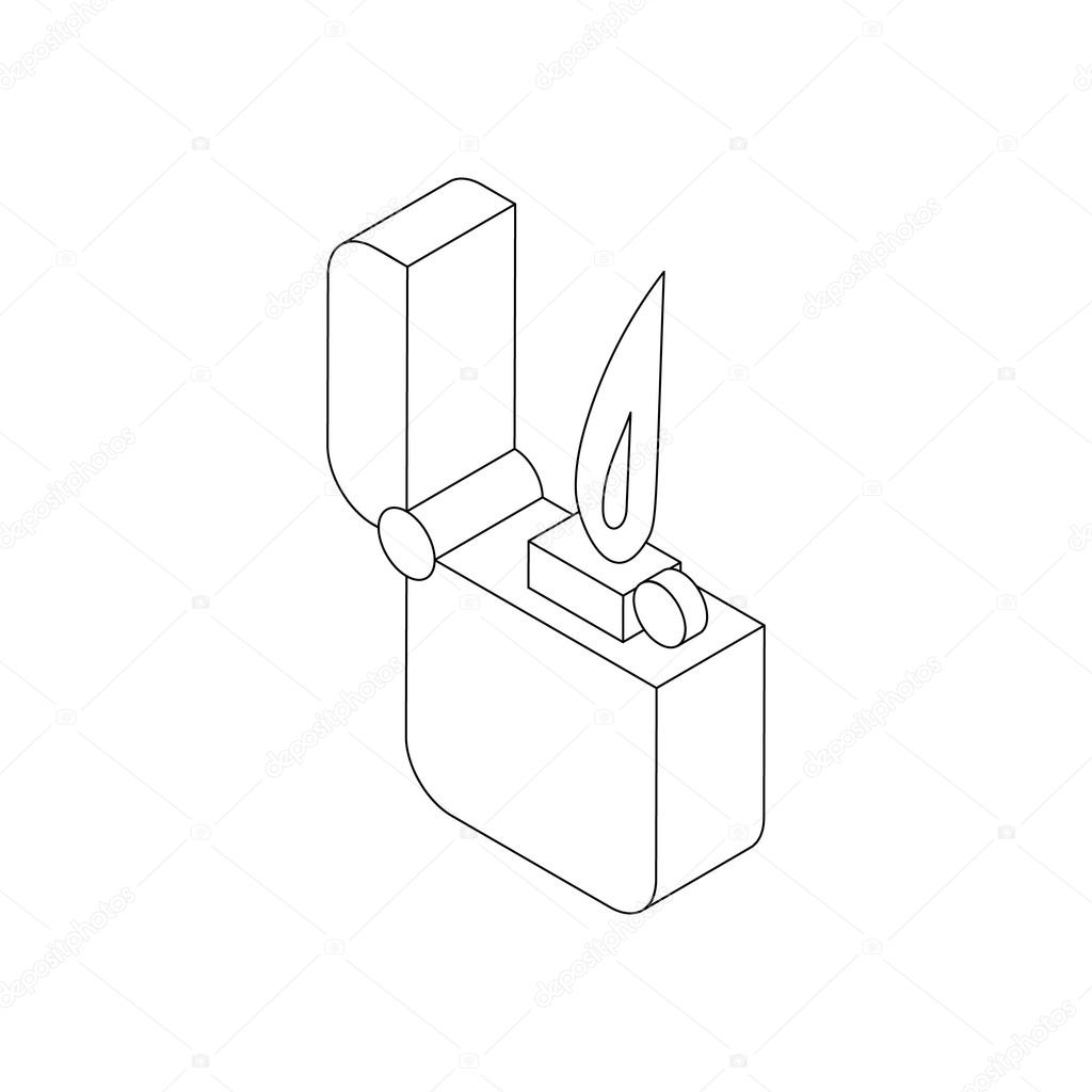 1024x1024 Pocket Lighter With Fire Icon, Isometric 3d Style Stock Vector