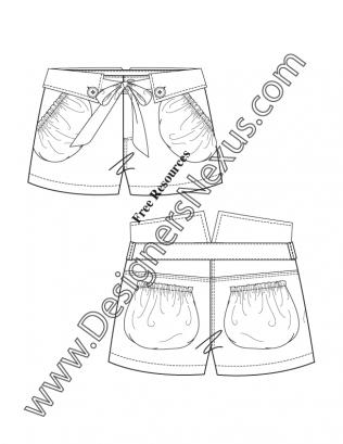 316x409 V93 Bubble Pocket Folded Waistband Shorts Illustrator Flat Fashion