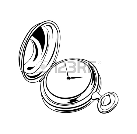 450x440 Drawing Of A Vintage Pocket Watch Royalty Free Cliparts, Vectors