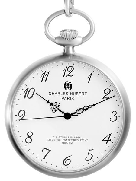 450x600 Charles Hubert Quartz Pocket Watch With White Dial And Silvertone