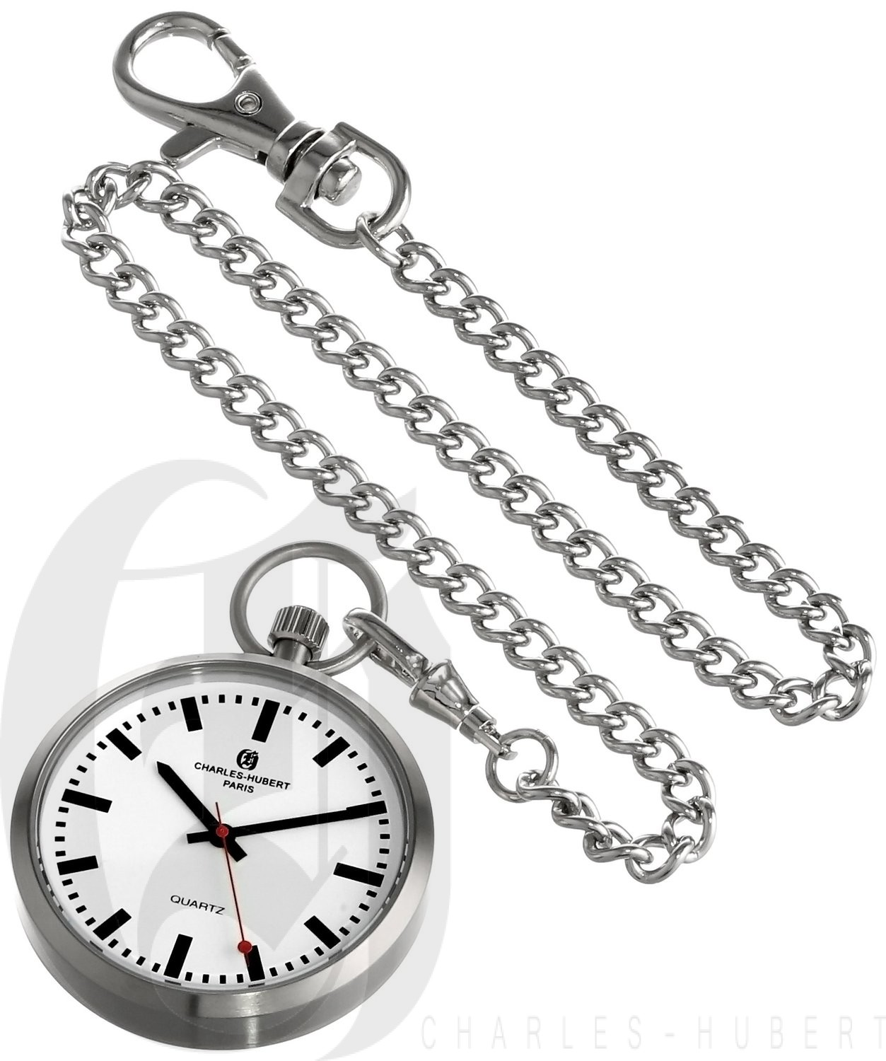 1253x1500 Hubert Paris Stainless Steel Open Face Quartz Pocket Watch