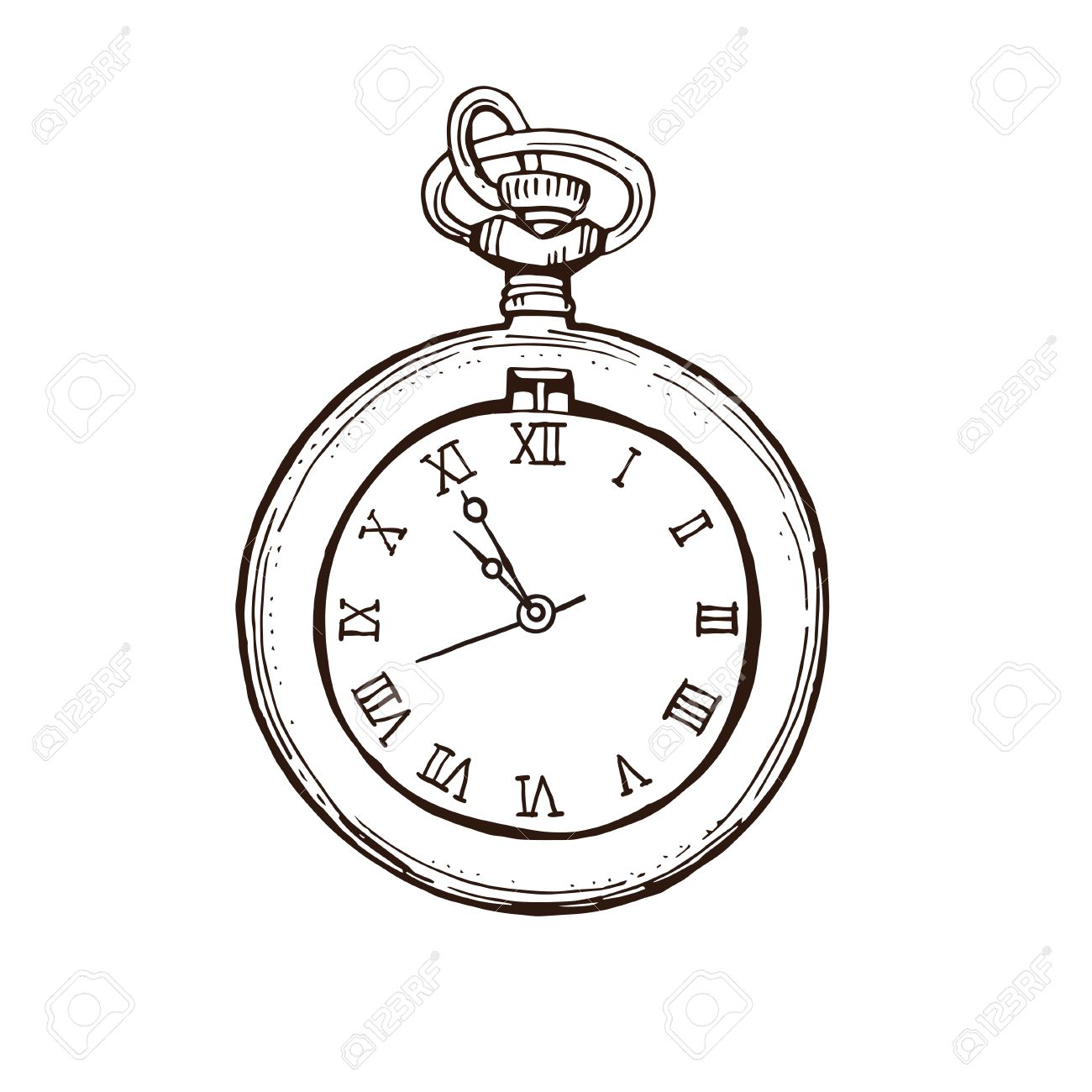 1300x1300 Open Pocket Watch In Vintage Style. Hand Drawn Ink Sketch Vector