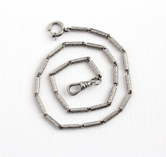 570x538 Vintage Art Deco Silver Tone Pocket Watch Chain