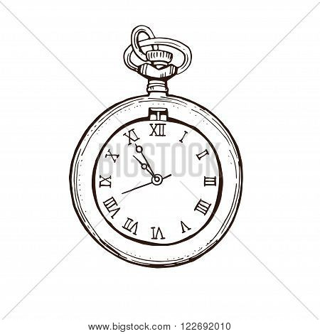 450x470 Open Pocket Watch Vintage Style. Vector Amp Photo Bigstock