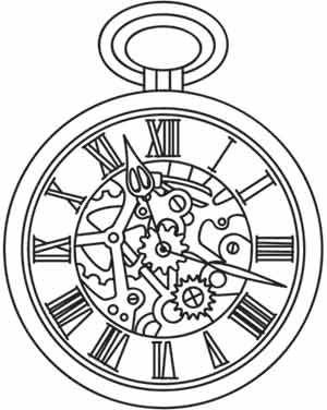 300x376 Broken Pocket Watch Drawing