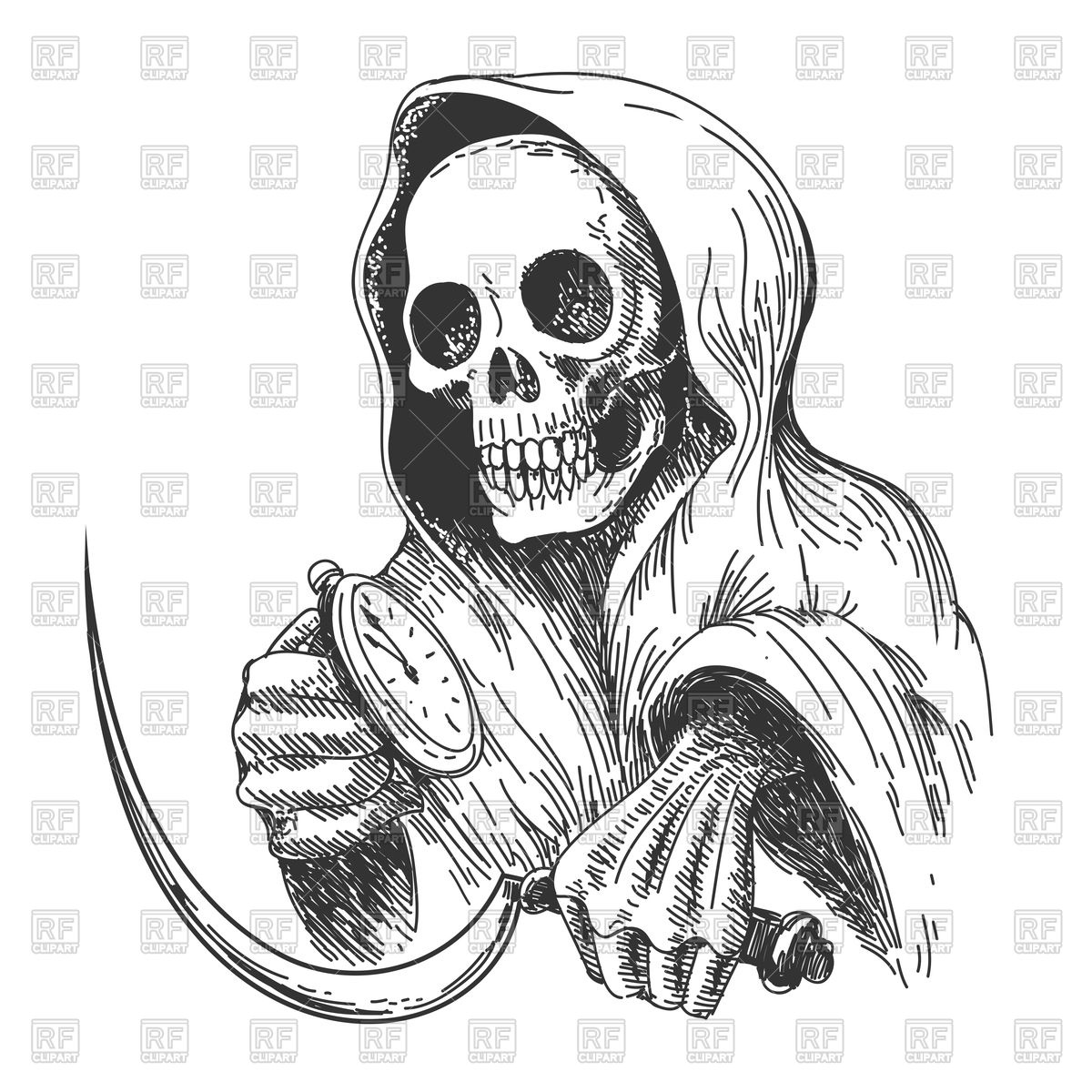 1200x1200 Death With Sickle And Pocket Watch, Ink Drawing Style Royalty Free